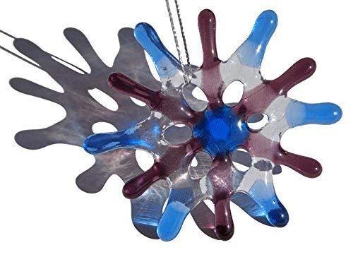 Amethyst Blue Star Snowflake Glass Ornament
