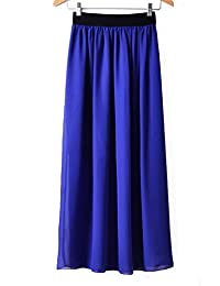 WenHong Women's Vintage Pleated Long Chiffon Maxi Boho Beach Skirt Dress