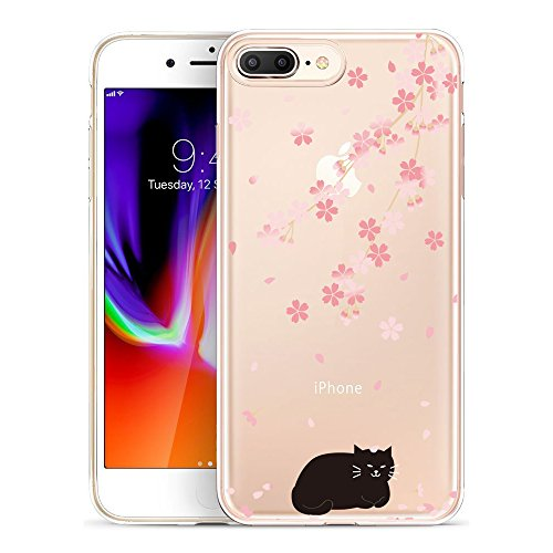 iPhone 8 Plus Case, SwiftBox Clear Flexible TPU Gel IMD Case for iPhone 7 Plus and iPhone 8 Plus with Tempered Glass Screen Protector (Cherry Blossom and Black Cat) (Cherry Black Blossom)