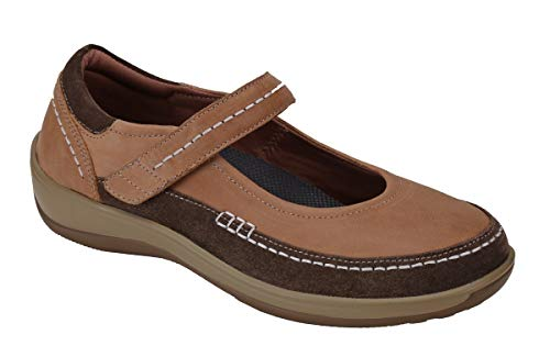 Orthofeet Plantar Fasciitis Comfortable Orthopedic Diabetic Womens Mary Jane Athens Shoes Beige by Orthofeet (Image #2)