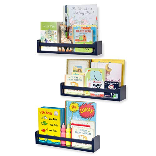 Nursery Décor Wall Shelves - 3 Shelf Set - Floating Bookshelves for Baby & Kids Room, Book Organizer Storage Ledge, Display Holder for Toys, CDs, Spice Rack - Ships Assembled (Navy Blue)