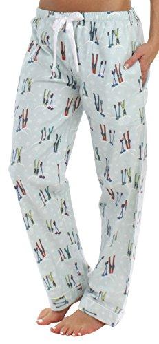 PajamaMania Women's Sleepwear Flannel Pajama PJ Pants, Skis (PMF1001-2042-XL)