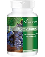 OPC Grape Seed Extract med vitamin C 900mg - 180 tabletter - högdoserat och veganskt