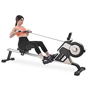 Well-Being-Matters 41xFPHHKByL._SS300_ Merax Rowing Machine Magenetic Rower Machine with 8-Adjustable Level, LED Monitor 340 LBS Max Weight Cardio Fitness…