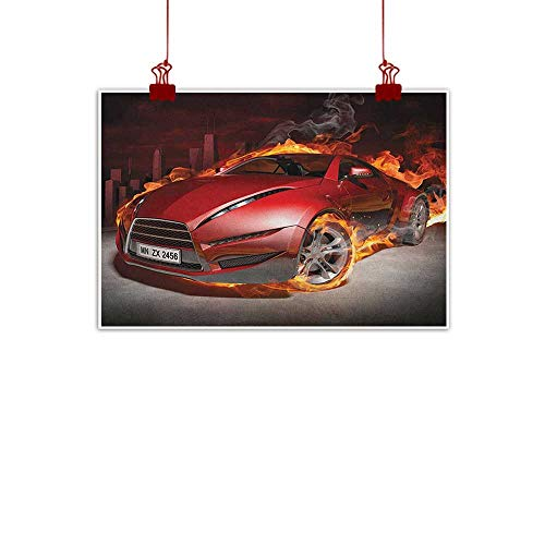 (warmfamily Art Poster Print Cars,Red Sports Car Burnout Tires in Flames Blazing Engine Hot Fire Smoke Automobile, Red Black Orange 28