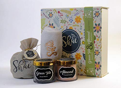 Green Tea Facial Mask & Almond Facial Grains - Shae Spa Gift Kit by Magenta Pie Co