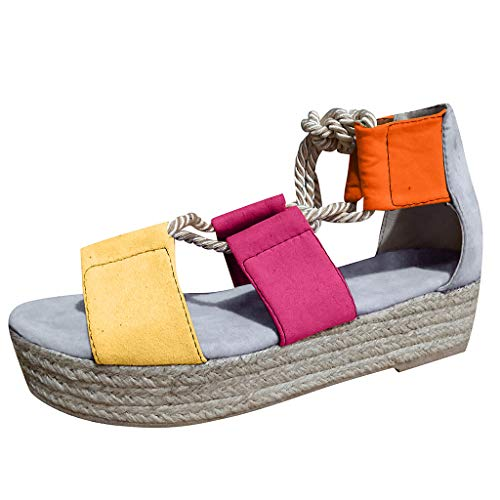 MIUCAT Ladies Hemp Shoelace Sandals Beach Wedge Flat Shoes Summer Lace-Up Platform High Heels Grey