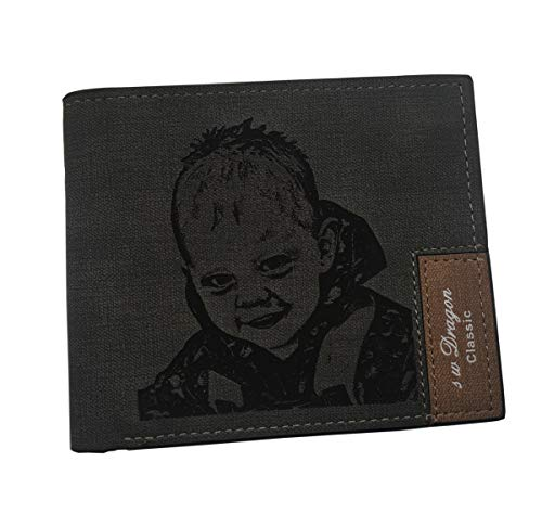 Customized Picture Wallets Personalized Photo Leather Wallet Purse Billfold for Men Boyfriend Birthday Gifts Black