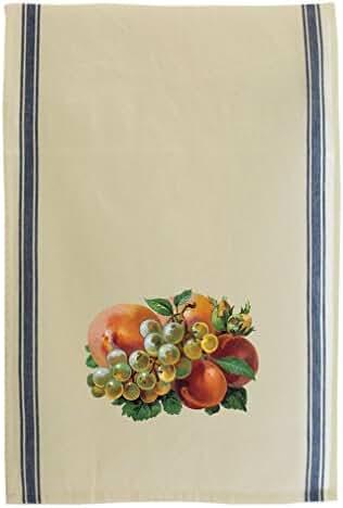 Grapes And Peaches Vintage Look Cotton Retro Stripe Dish Kitchen Towel Blue Stripe