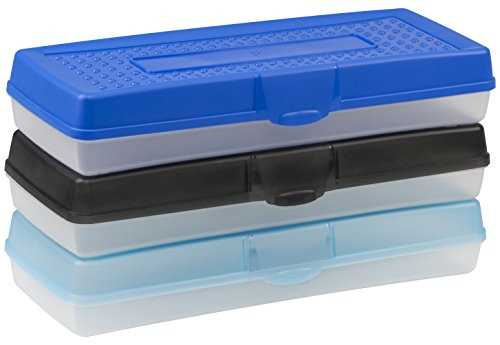 Storex Stretch Pencil Box, 5.6 x 13.4 x 2.52 Inches, Assorted Colors, Case of 12 - Box Stretch