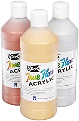 Sax True Flow Acrylic Paint - 1 Pint - Set of 3 - Assorted Metallic Colors