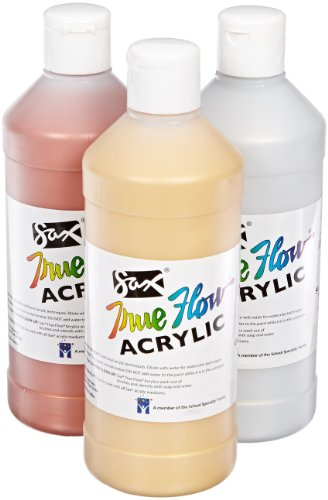 Sax True Flow Heavy Body Acrylic Paints, 1 Pint, Assorted Metallic Colors, Set of 3