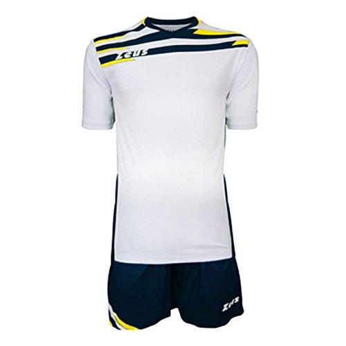 Zeus Kit Itaca Herren Kinder Trikot Shirt Hosen Klein Armel Kit Fußball Hallenfußball Weiss-Blau-Gelb (M)