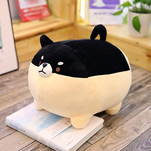 GOONEE Dog Plush Toy - Inu Dog Plush Toy Soft Pillow Stuffed Animal Gift for Kids Present - 20 Inch Black - Giant Pack Long Bulk Aggressive Chew Large Baby No Octopus Black Devil Bone Go