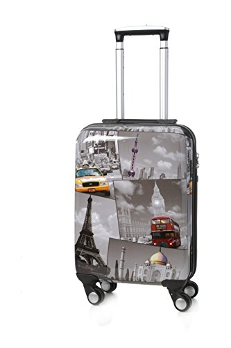 """5Cities® Rígido ligera de equipaje de viaje Maleta-4 Wheel Bag Trolley Spinner 21 """"Se adapta a 55x40x20 cm, 26"""" 63x48x28cm, 29 """"73x56x32cm (5 años de garantía) (21"""", PCF535)"""