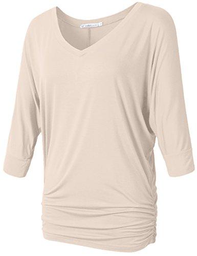 Womens Dolman Sleeve - JollieLovin Womens V Neck 3/4 Dolman Sleeve Side Shirring Drape Top (S, Beige)