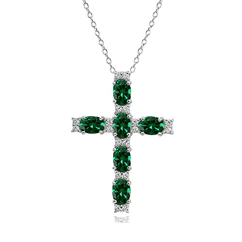 Sterling Silver Simulated Emerald Oval-Cut Cross Pendant Necklace with White Topaz Accents