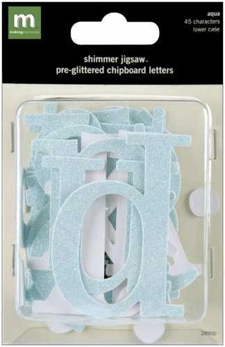 Making Memories Shimmer Jigsaw - Making Memories Shimmer Jigsaw Alphabet 45/Package, Aqua