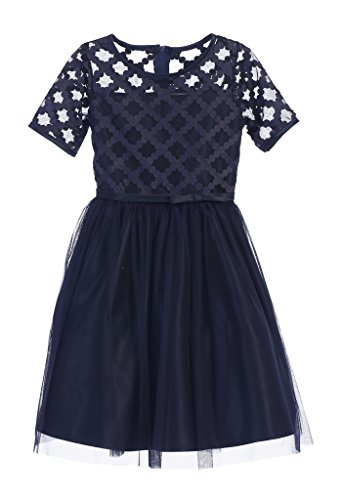 Cute Dress For Tweens (Sweet Kids Cross Hatch Satin Girls' Holiday Dress, 14, Navy)