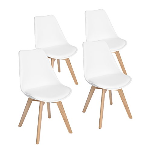 Set of 4 Modern Accent Side Dining Chair Kitchen Chairs Upholstered Lounge Chair with Soft Padded Seat Body Engineering Design for Reception Room Bedroom,White (Beech Chairs Kitchen)