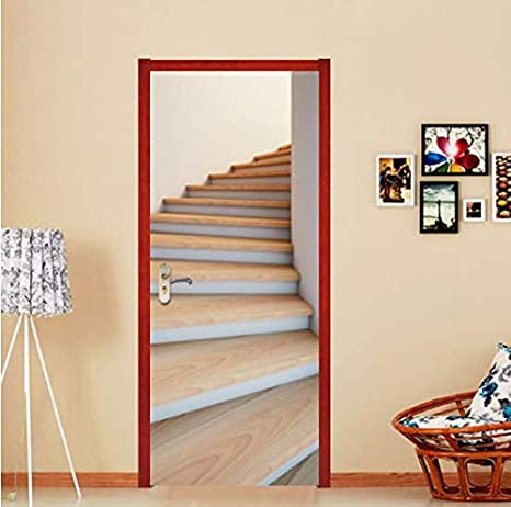 FLFK 3D Escalera Falsa Adhesivo Vinilos Puerta Pegatina Pared Murales para Cocina Sala de Baño Decorativos 77X200cm: Amazon.es: Hogar