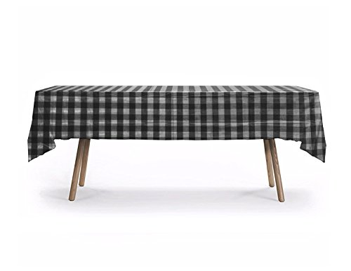 (10 CT Rectangular Black/White Checker Table Cover, American Style Checker Design, Premium Plastic Tablecloth, Plastic Table Cover (Black Checker))