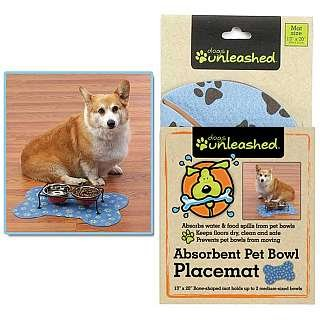 Dogs Unleashed Ritz Absorbent Bone Shape Pet Placemat, 13 by 20-Inch, Light Blue ()