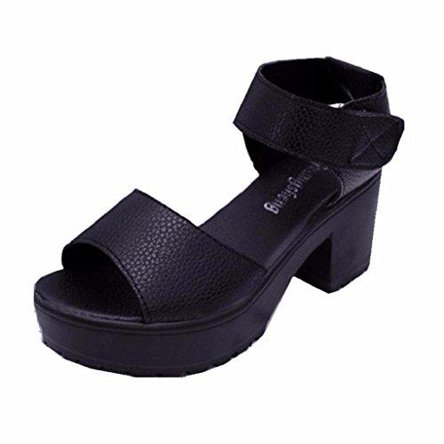 Sandalias para Mujer, RETUROM Plataforma abierta del dedo del pie de las mujeres Sandalias del alto talón Negro