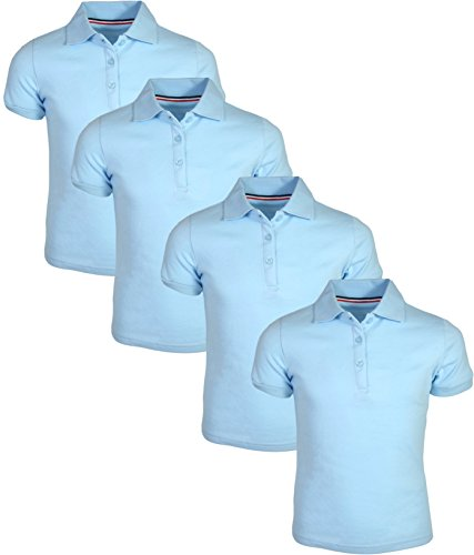 (French Toast Girl\'s Uniform Polo Short Sleeve Interlock (4 Pack), Light Blue/Light Blue, Medium - 7/8')