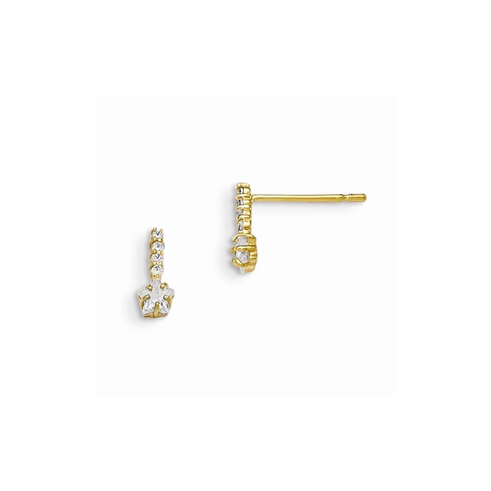 14K Yellow Gold Jewelry Button Earrings 3 mm 8 mm Madi K CZ Childrens Star Post Earrings