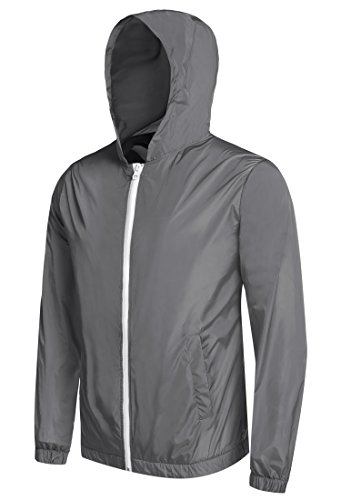 Detailorpin Men's Waterproof Rain Jacket Lightweight Hooded Outdoor Running Cycling Packable Raincoat