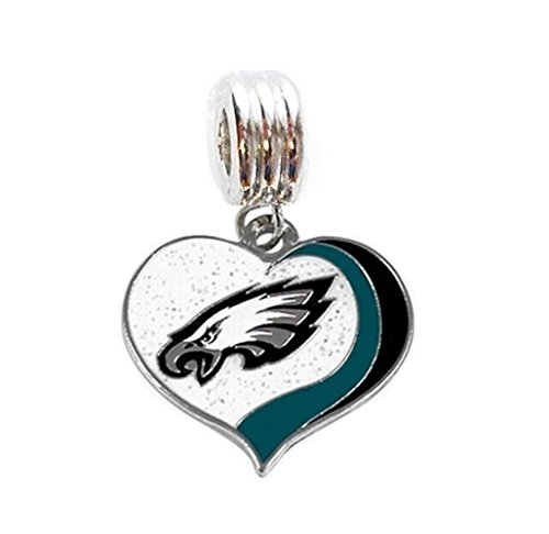 PHILADELPHIA EAGLES FOOTBALL TEAM HEART CHARM SLIDE PENDANT FOR YOUR NECKLACE EUROPEAN CHARM BRACELET (Fits Most Name Brands) DIY PROJECTS ETC Philadelphia Eagles Charm