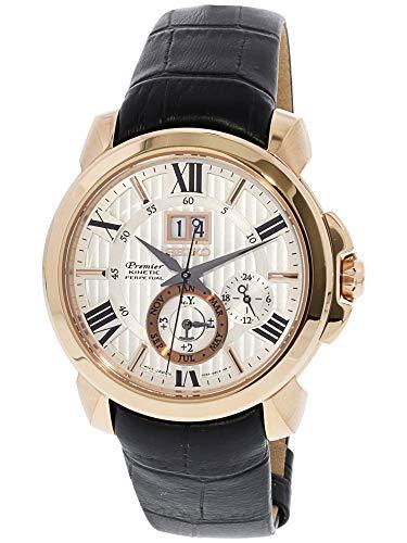 Seiko Kinetic Perpetual Calendar - Seiko Men's SNP150 Gold Calf Skin Kinetic Dress Watch