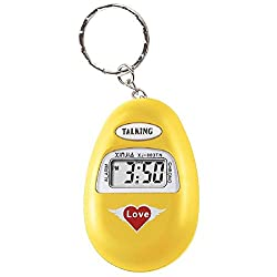 S'Beauty Oval Talking Alarm Clock Keychain - English Broadcast for The Old Man and The Blind (Yellow)