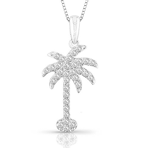 14k White Gold Diamond Palm Tree Pendant Necklace (3/8 cttw) 18