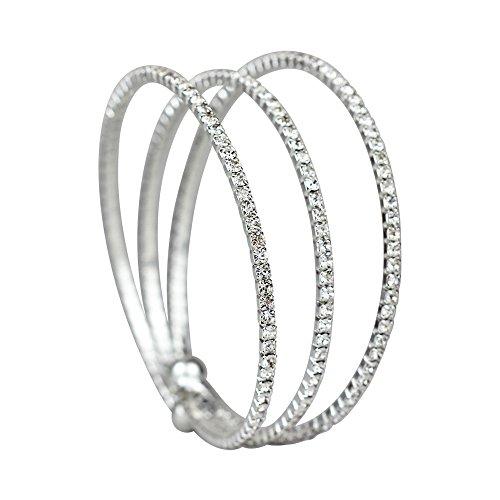 Rhinestone 3-Row Cuff Bracelet, Silver ()
