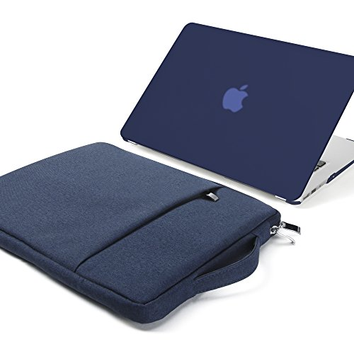 GMYLE MacBook Air 13 Inch Case A1466 / A1369 Older Version 2010-2017 2 in 1 Bundle, Hard Plastic Shell Cover and 13-13.3 Inch Carrying Sleeve Bag with Handle - Navy Blue Set ()