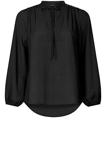 oodji Ultra Mujer Blusa Ancha con Decoración en los Hombros Negro (2900N)