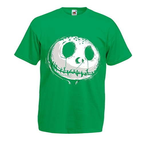 lepni.me N4434 T Shirts for Men Scary Moon (Small Green Multi Color)