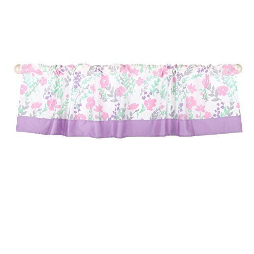 Pink and Mint Green Floral Print Window Valance by The Peanut - Tailored Garden Valance
