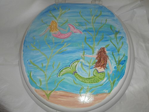 Hand Painted Toilet Seat - Hand painted swimming mermaids elongated toilet seat