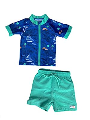 SwimZip¨ Zipper Short Sleeve Rash Guard Swimsuit Set Captain Kid Blue