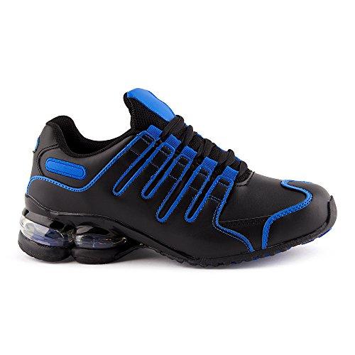 Fusskleidung Herren Damen Sneaker Sportschuhe Lauf Freizeit Neon Runners Fitness Low Unisex Schuhe Schwarz/Blau-M