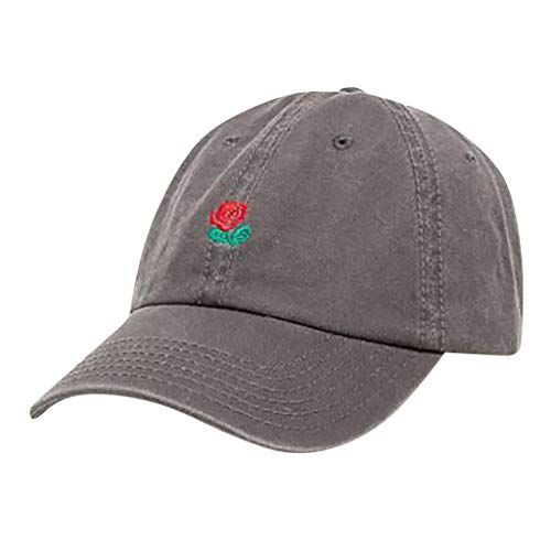 Rose Embroidered Dad Hat Women Men Cute Adjustable Cotton Floral Baseball Cap