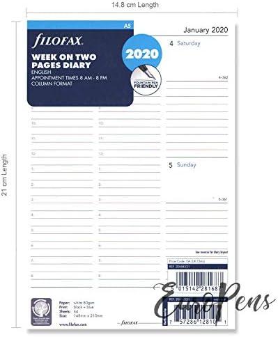 tascabile Agenda 2020 settimana su due pagine in inglese Filofax
