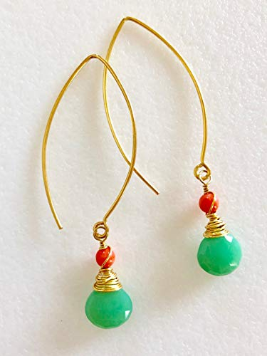 Chrysoprase Earrings, Green Chrysoprase Earrings, Coral Earrings, Apple Green Gemstone, May Birthstone, Bridal, 24K Gold Vermeil. ()