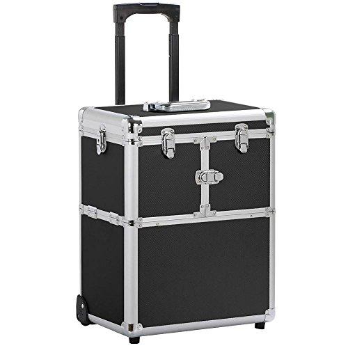 Yaheetech Pro Aluminum Rolling Makeup Case Salon Cosmetic Box Organizer Trolley Beauty Train Case,Black