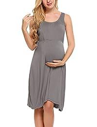d1538e992cb4e Women's Maternity Sleeveless Dress Floral/Solid Nursing Nightgown for  Breastfeeding Sleepwear S-XXL