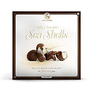 European Milk & White Chocolate Sea Shells With A Luxurious Hazelnut Filling, In A Beautiful Gift Box (250g) (Pack of 2)