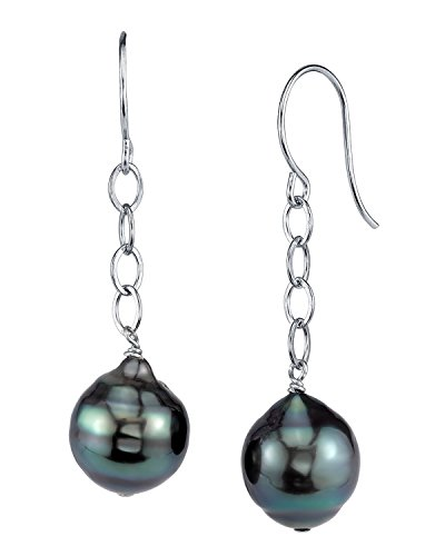 14K Gold Tahitian South Sea Baroque Cultured Pearl Dangling Tincup Earrings